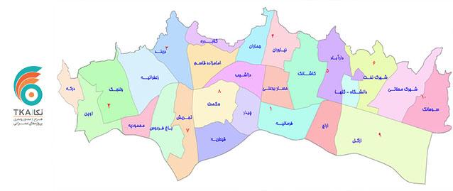 نواحی ده گانه شهرداری منطقه 1 شرکت مهندسی تُکا